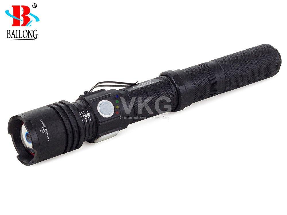 LED21 BAILONG LED CREE USB TORCH XM-L3-U3 W557 ZOOM Svítilna s nabíječkou, černá